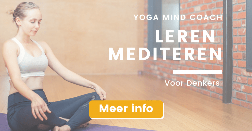 vrouw in yoga outfit zittend banner leren mediteren voor denkers online training
